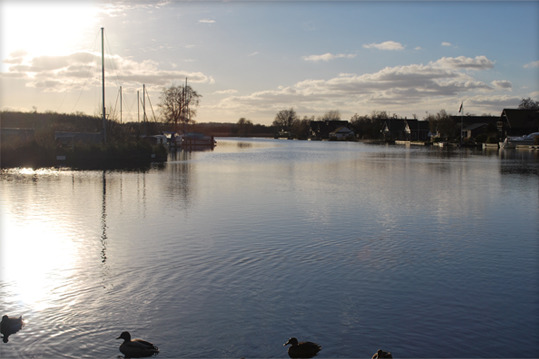 The River Bure in Horning on the Norfolk Broads