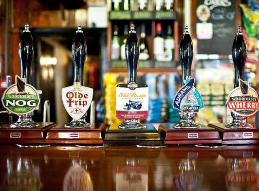 Freehouse beers on tap in the Fishermans Return