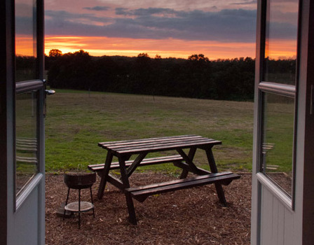 View from the shepherds hut at Top Farm