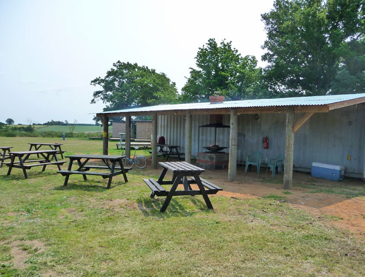 Seating area and toilets at Top Farm