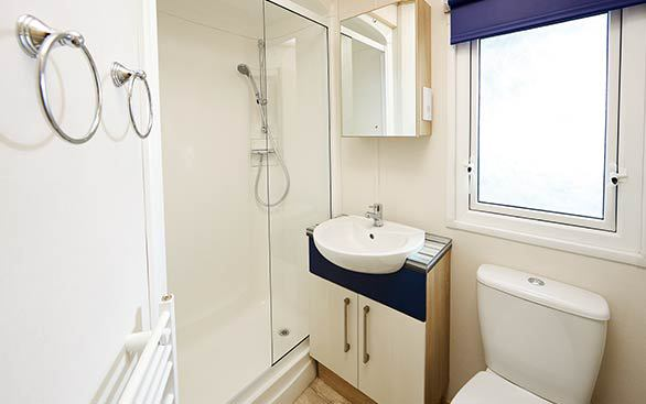 Bathroom within caravan at Wild Duck