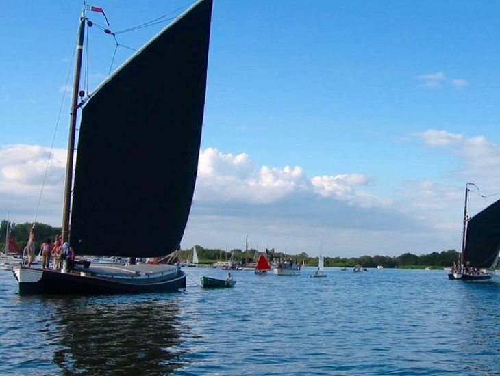 Trading Wherries Sailing On Barton Broad
