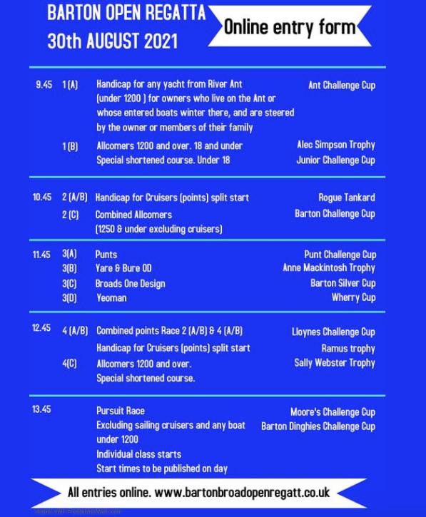 Barton Regatta Schedule