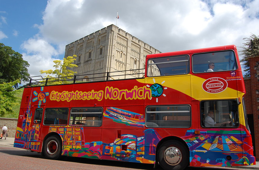 Open Top Tour Bus outside the Norwich Castle