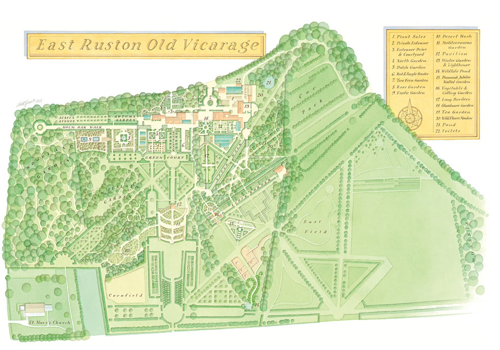Site Map of East Ruston Gardens