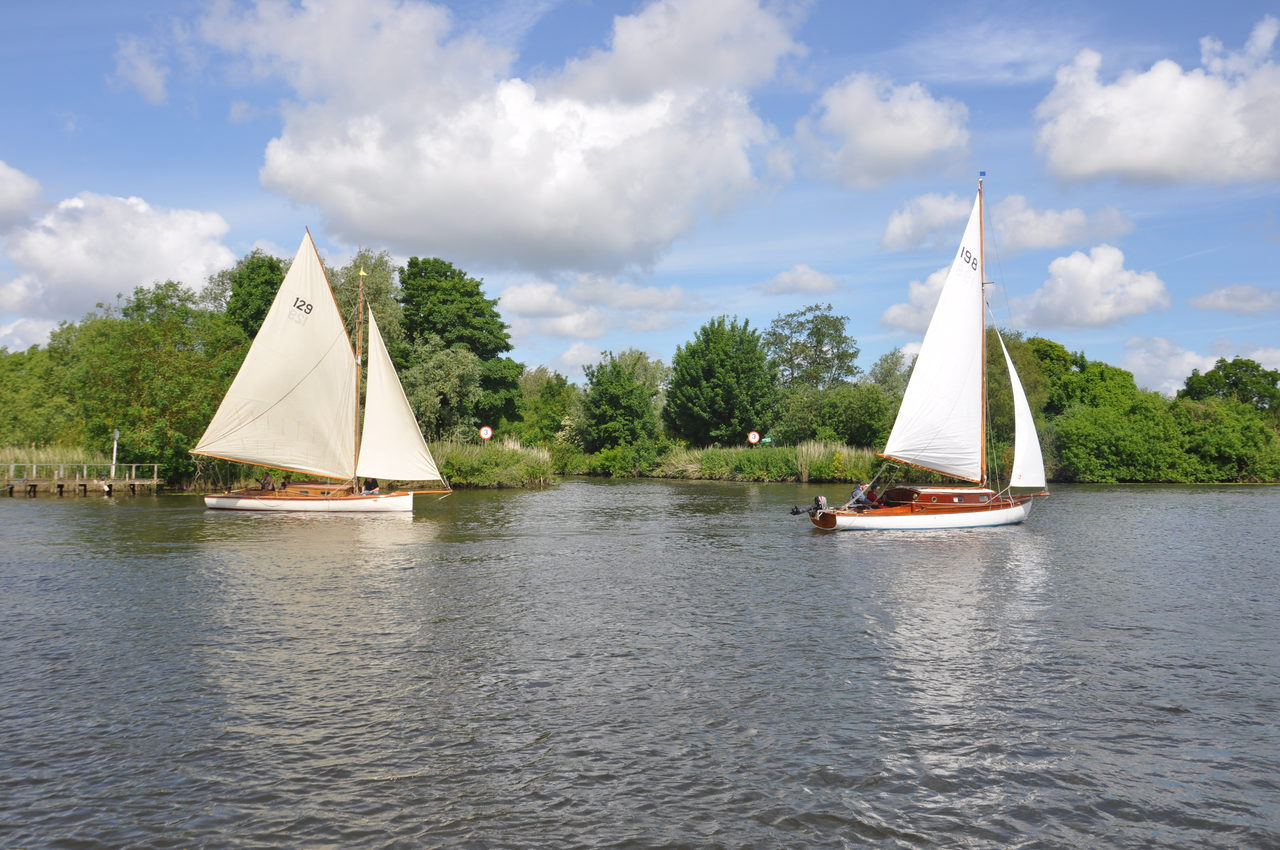Broads sailing cruisers on the river at Brundall