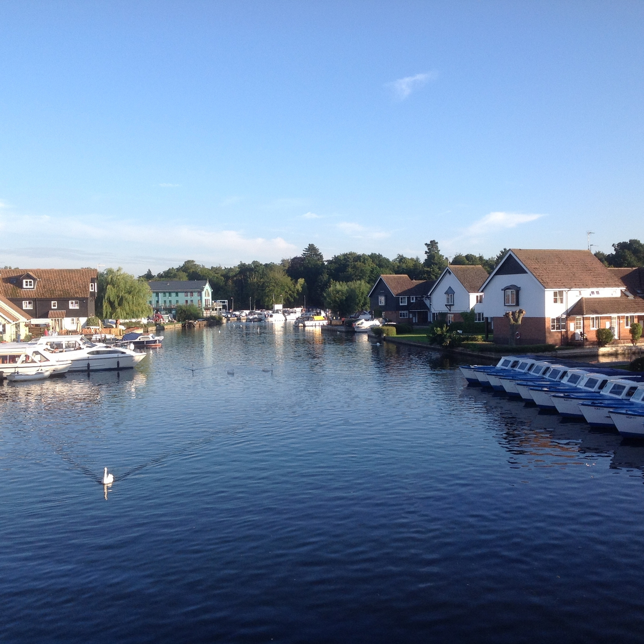 The cottage seen from Wroxham Bridge - first right after the day boats.