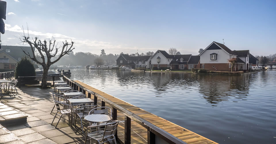 Waterside terrace at the Wroxham Hotel