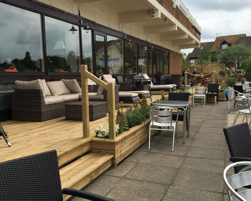 Waterside terrace at the Wroxham Restaurant