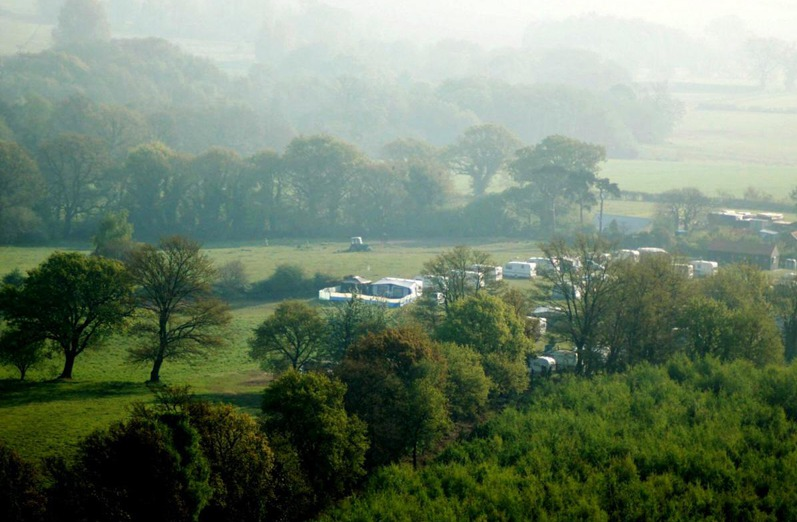 Airial view of Top Farm Glamping site