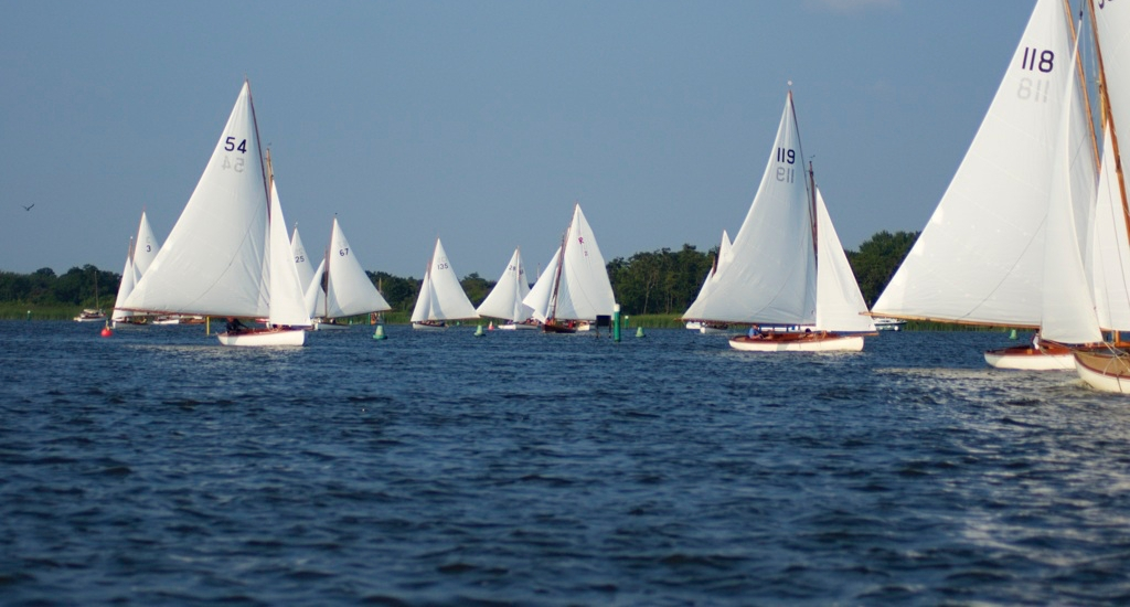 Yare and Bure white boats racing on the Norfolk Broads