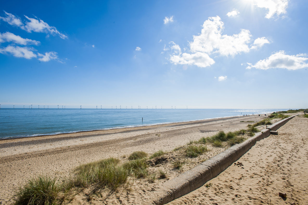 Beach With Windfarm