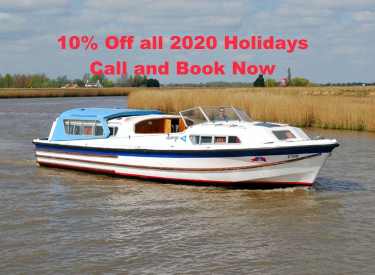 !0% Discount on 2020 Norfolk Broads Boating Holidays